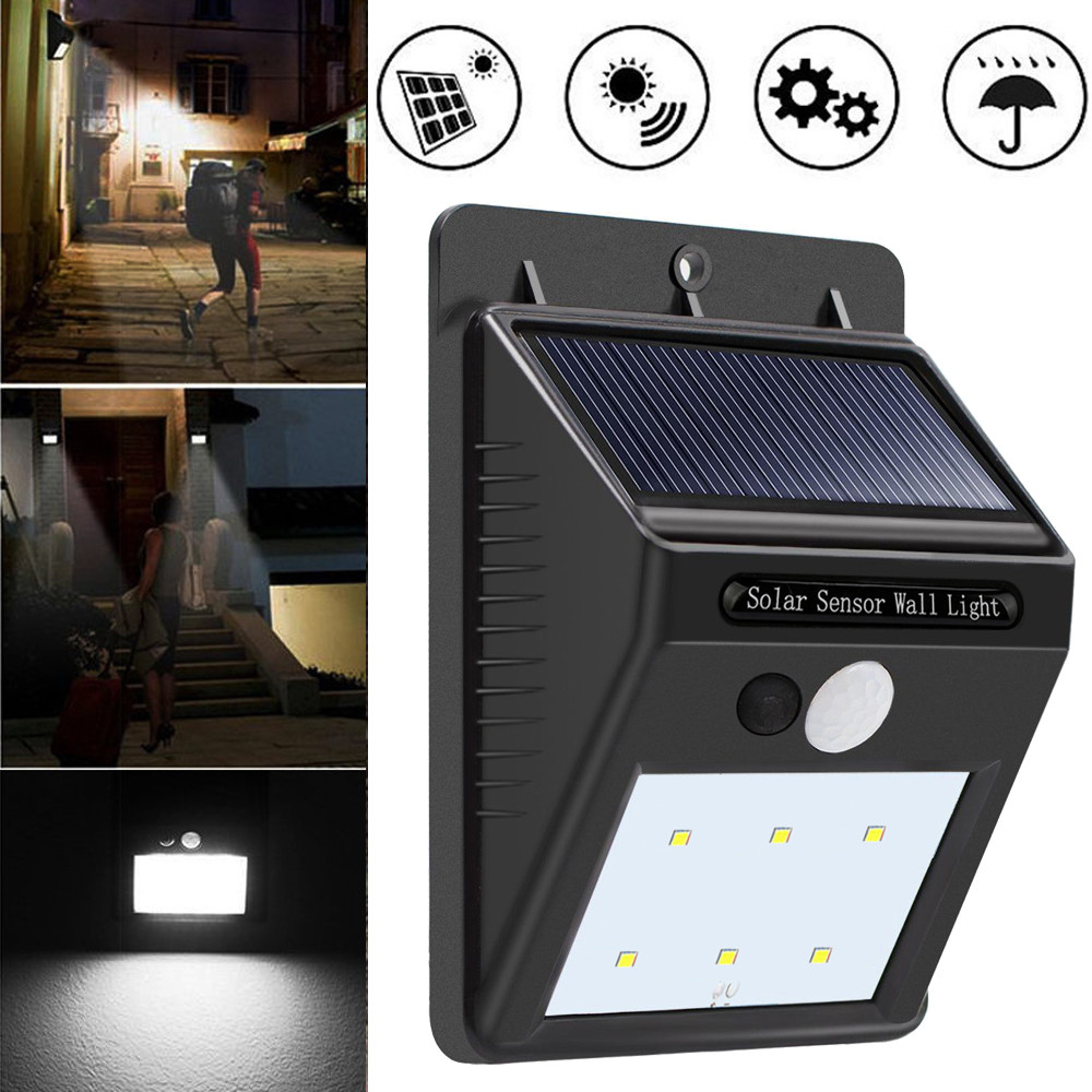 6 LED Solar Outdoor Light Power PIR Motion Sensor Wall Light Outdoor Waterproof Garden Lamp 6V Street Path Garden Security Light ...