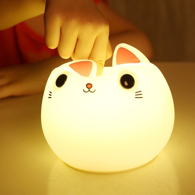 Colorful Silicone Cat Night Light LED USB Lamp Cute Animal Soft Cartoon  Lamps Fine Gift For