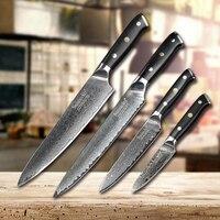 SUNNECKO Дамаск принадлежности для шеф-повара Santoku терка для очистки овощей Кливер Ножи японский Кухня ножей G10 ручка острый для мяса резки Ножи