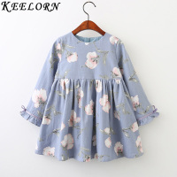 Keelorn Girls Dresses 2017 Autumn Winter Girls Dress O Neck Long Sleeve Flowers Print For Kids