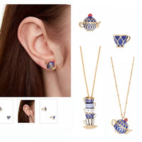 Les Nereides Enamel Glaze Sets Women Earring Teapot And CUP Necklace Sweater Necklace