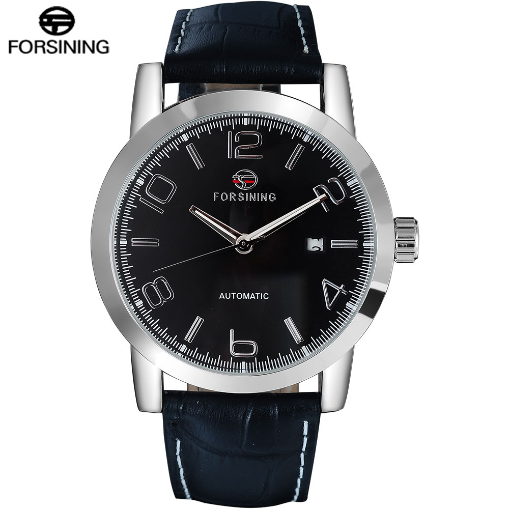 FORSINING Men Watches Luxury Classic Leather Strap Auto Mechanical Watch Complete Calendar Relogio Masculino 2015 forsining relogio pmw342