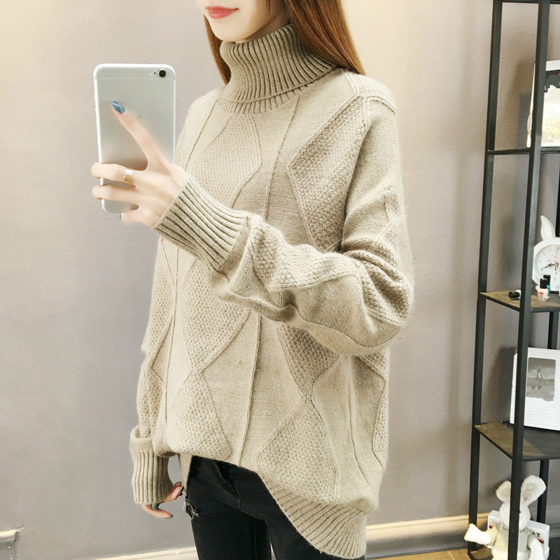 Women Autumn Winter Fashion Basic Pullover Sweaters Female Jumpers Turtleneck Long Sleeve Pull Femme Casual Knitted Pullovers