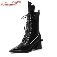 FACNDINLL brand cow leather ankle boots women sexy high heels rome style lace up short shoes woman black riding motorcycle boots недорого