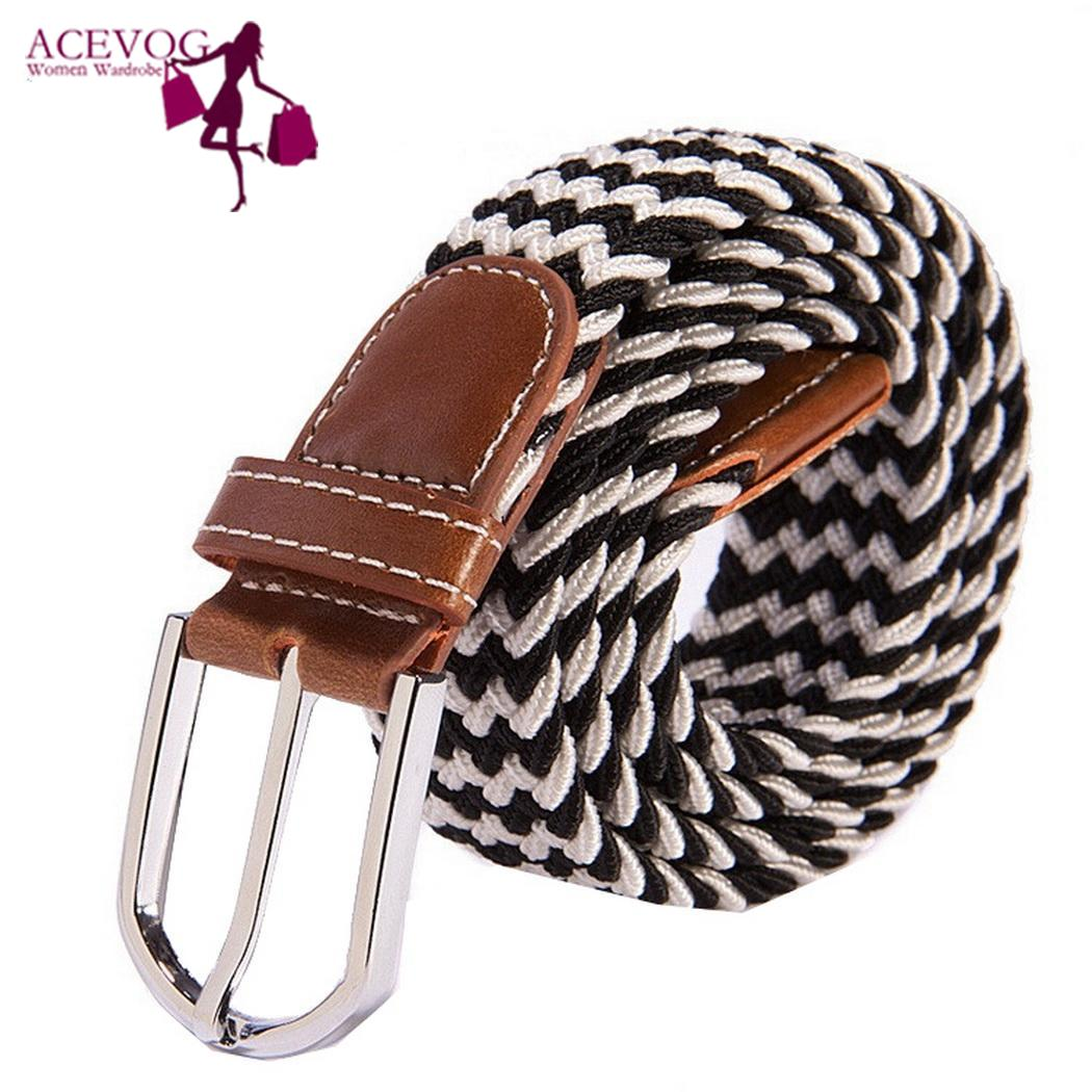 Casual Men Women Wild Woven Elastic Rubber Pin Buckle Net Color Fashion Canvas Elastic Belt
