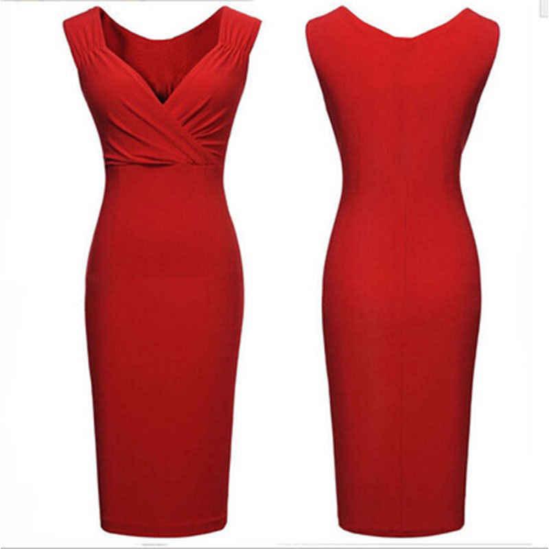 2018 varış Yaz Bayan Giyim Bayan Kolsuz Elbise Casual Katı Renk Diz Boyu v yaka elbise