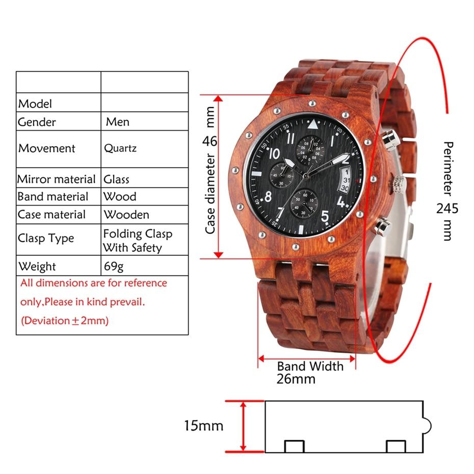 Wooden Watch Men erkek kol saati Top Luxury Stylish Redwood Timepieces Chronograph Military Date Calendar Quartz Watches for Men 2019 2020 2021 2022 (9)
