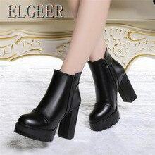 ELGEER Womens Shoes New High Heel Waterproof Platform Round Side Zipper Boots Riding, Equestrian boots