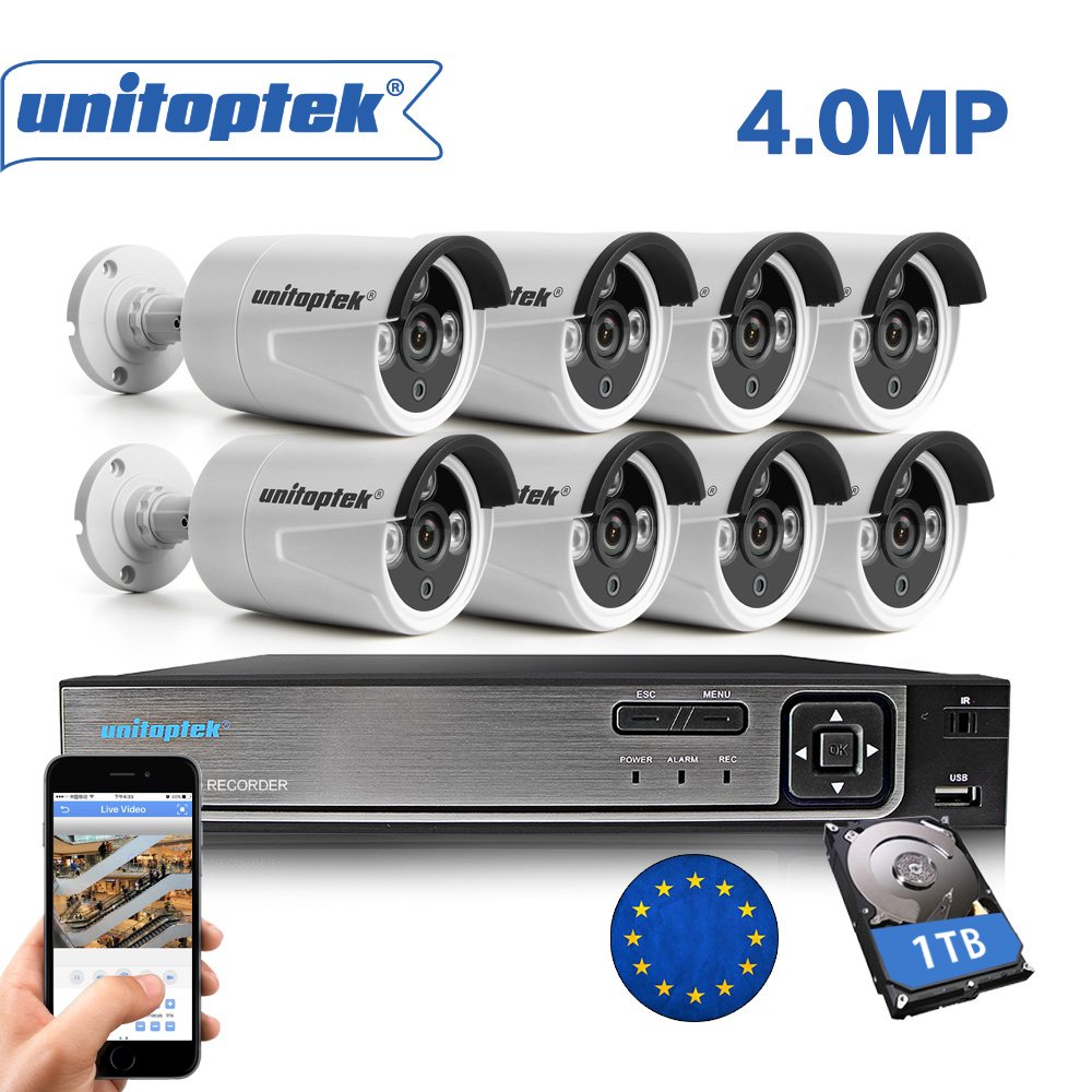 H.265 8CH 4MP CCTV Surveillance Kit 8CH NVR Max 4K Output Video Output 8Pcs 4MP IP Camera Outdoor Motion Detect Security System