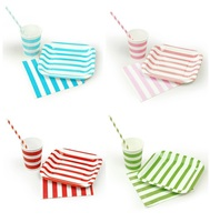 Stripe Square Plate Cups Napkins Paper Straws Set For Tableware Wedding Family Celebration Evening Graduation Birthday