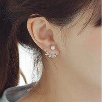 New 2016 Hot Sell Fashion Pearl Flower Design 925 Sterling Silver Stud Earrings For Women Girls