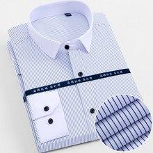 f48b82230c825 Nueva calidad cómodo Slim cuidado fácil turndown collar de manga larga de  rayas de los hombres de negocios camisas de vestir de .