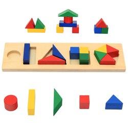 Brinquedos de madeira do bebê aprendizagem & educacional montessori brinquedo geometria bloco forma jogo para crianças