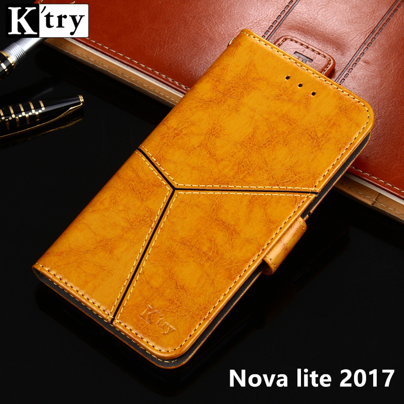 For Huawei Nova Lite 2017 SLA-L22 Case K'try Pu leather +Soft Silicon Wallet Cover For Huawei Nova lite 2017 5.0'' Fundas