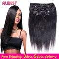 7A Peruvian  Virgin Hair Clip Ins Straight Human Hair Clip In Extensions Unprocessed 70-120G Clip Ins Human Hair Clip Ins