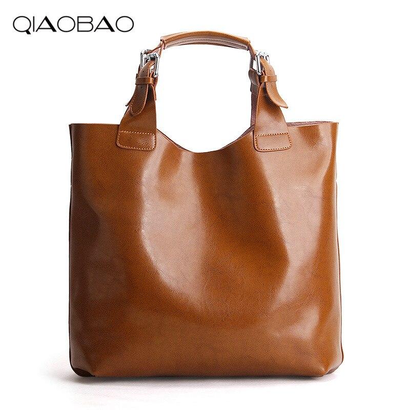 QIAOBAO 2018 Brand Genuine Leather Tote Bag Wome Shopping Bag Cowhide leather handbag Female shoulder bag Composite Bags