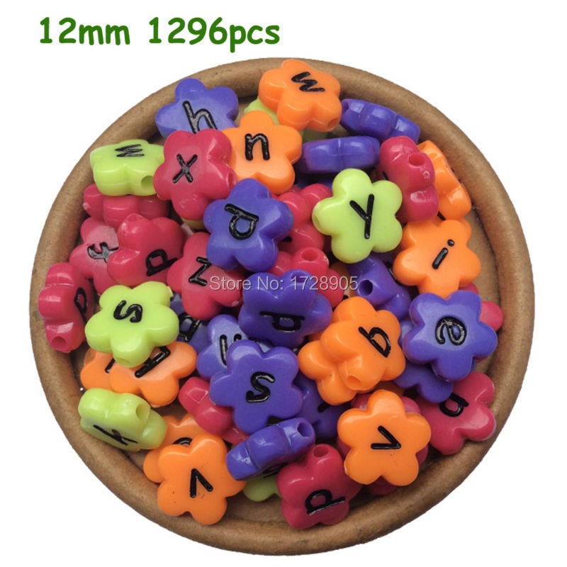 New 1296pcs 12*12mm Mixed Neon Colors Letters Flower Alphabet Beads DIY Acrylic Alphabet Beads For Jewelry Making