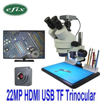 Efix 22MP 7-45X Trinocular สเตอริโอบัดกรี Continus กล้องจุลทรรศน์ HDMI USB HD กล้องซ่อมโทรศัพท์มือถือ