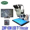 Efix 22MP 7-45X Trinocular soldadura estéreo Continus Zoom microscopio HDMI USB HD Cámara Reparación de teléfono móvil