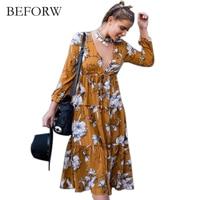 BEFORW Summer Long Sleeve Dress Women Bohemian Chiffon Sexy V Neck Dresses Fashion Printing Casual Knee