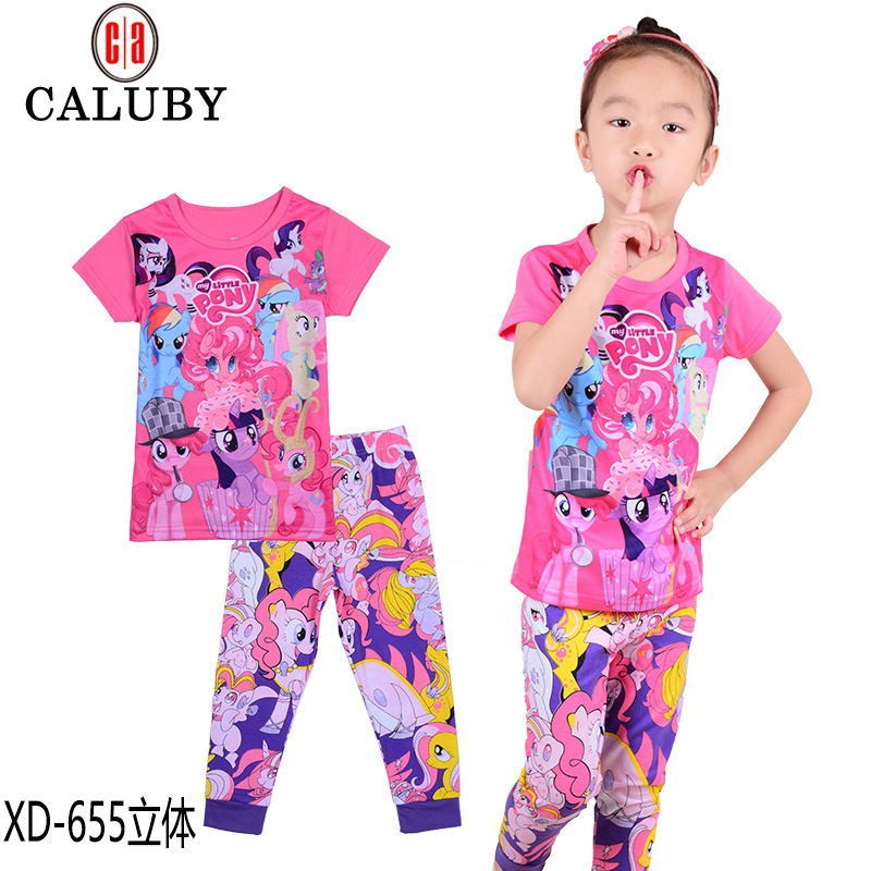 Hot-2016-new-pony-clothes-girls-clothing-sets-kids-pajamas-children-2-piece-sleepwear-home-fashion