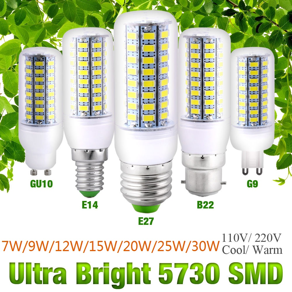 LED Corn Light Bulb E27 B22 GU10 E14 G9 7W To 30W Cool/Warm White AC110V / 220V High Bright Lamp Energy Saving Lights D40