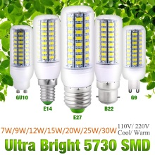LED Corn Light Bulb E27 B22 GU10 E14 G9 7W To 30W Cool/Warm White AC110V / 220V High Bright Lamp Energy Saving Lights D40 стоимость