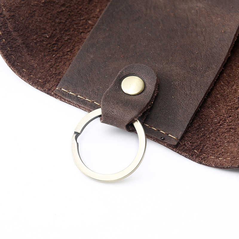 Vintage Crazy Horse Leder männer Auto Schlüssel Brieftaschen Halter Fall Taille Taschen Retro Schlüsselring Tasche Tasche Kleine Schlüssel Sicher aufhänger schlüssel Kette