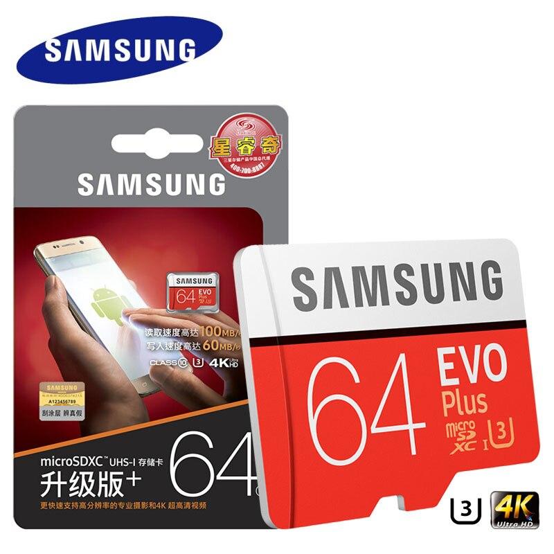 삼성 메모리 카드 EVO Plus HD 마이크로 SD 128G 64GB U3 32GB U1 Class10 MicroSD 카드 UHS-I MicroSD 카드 스마트 폰 태블릿 PC
