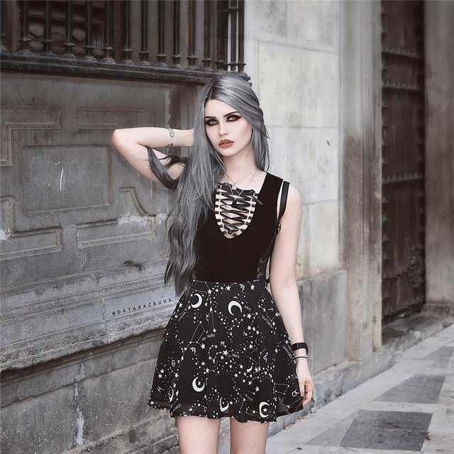 InstaHot Star Printed Pleated Gothic Skirts Women High Waist Punk Black Mini Skirts Constellation Rock Moon Sexy Club Outfits 2