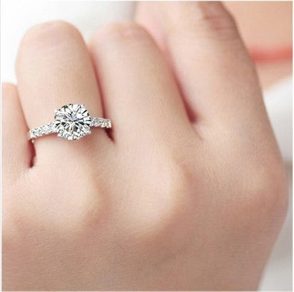 Test As Real Moissanite 1 Ct Solid Au750 White Gold Synthetic Diamond Ring  Excellent Women Engagement Jewelry Forever Love Ringin Rings From Jewelry
