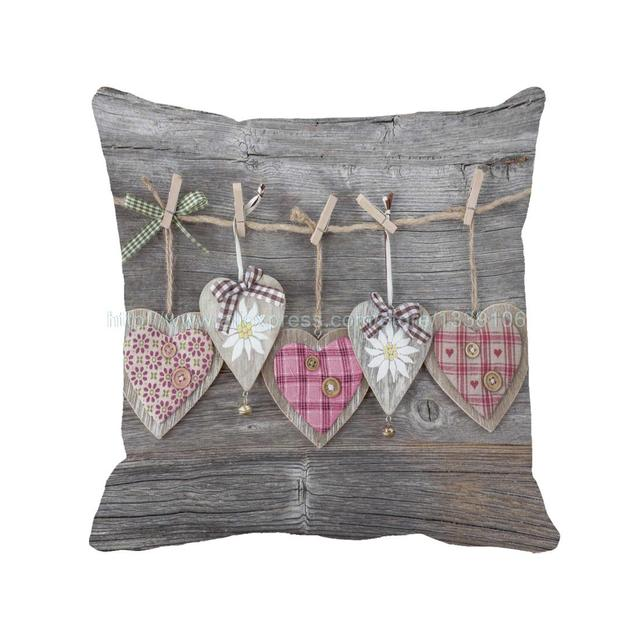 Euro Style Heart Shape Print Wooden Home Shabby Chic Throw Pillow Custom  Sofa Chair Cushion Decorative