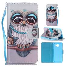 Flip Case Stand Cover For Samsung Galaxy A3/A5/J3/J5/J7 2016 PU Leather Wallet Pouch Cartoon Owl Butterfly Flowers Feather