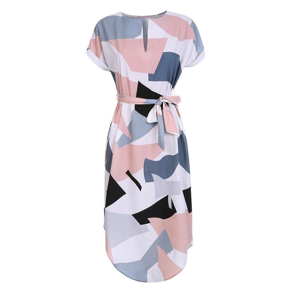 LOSSKY Frauen Midi Bleistift Kleid Sommer Geometrische Multi-farbe Mittelkurz Stehkragen Neuheit Geometrische Bleistift Kleid