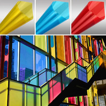 30cm wide stained decorative glass film Colored insulation sunscreen membrane red bi-color transparent mirror window stickers