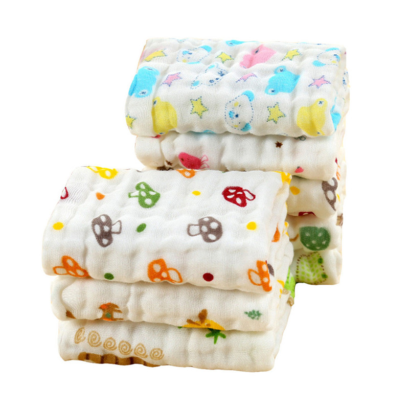 4 Pcs/Lot Baby Muslin Towels Cute Cartoon 6 Layers Hand Towels Cotton Gauze Wipe Towels Newborn Boys Girls Wipe Washcloths