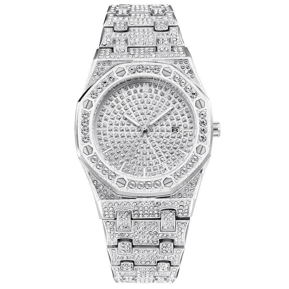Classic Hip Hop Bling Diamond Men Watches ICED OUT Luxury Mens Quartz Watch Silver Steel Business Wristwatch Zegarek Damski 2019