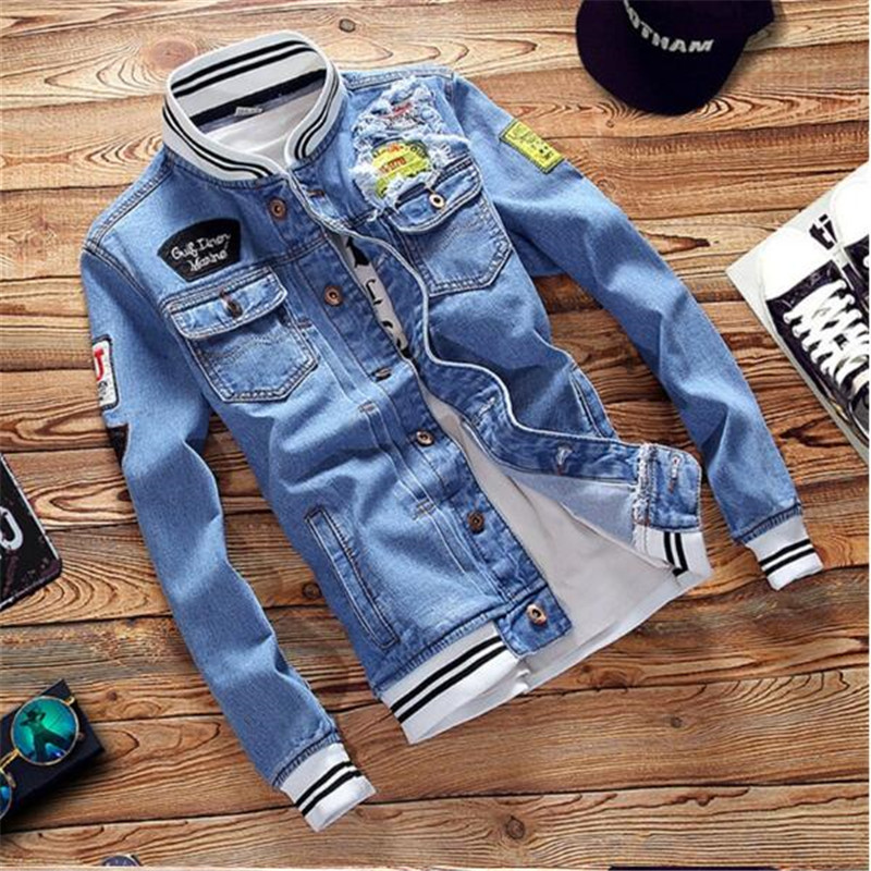 Мужская джинсовая куртка в стиле милитари, Повседневная Уличная одежда, 2019
