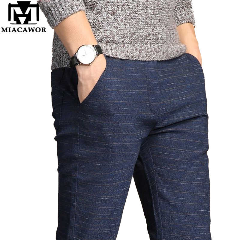 MIACAWOR Casual กางเกงผู้ชายคุณภาพสูง Moletom Masculino Elastic SLIM FIT Pantalones Hombre กางเกงชาย PLUS ขนาด 38 K111