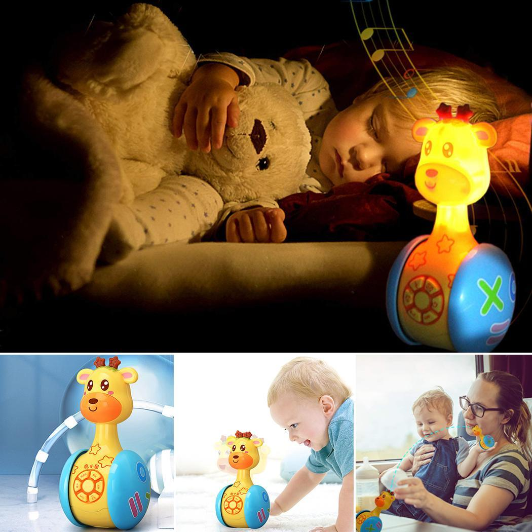 Baby Musical Toys Giraffe Tumbler Toys With Lights Music Yellow Early 3 Months Up Educational Toy