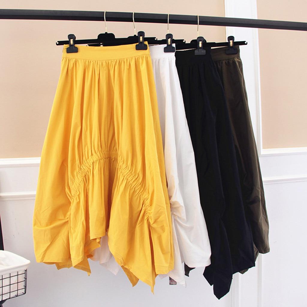 Summer Holiday Ladies Casual Irregular Hem Long Skirts Women Solid Ruffle Elastic Waist Midi Skirt Faldas Mujer Moda 2019 Saia