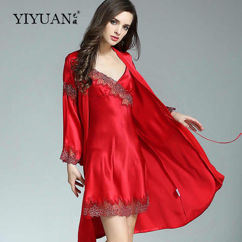 2d197eb4ca96f [Распродажа] 100% натуральный шелк халаты женский из двух частей тяжелый  шелк купальный халат
