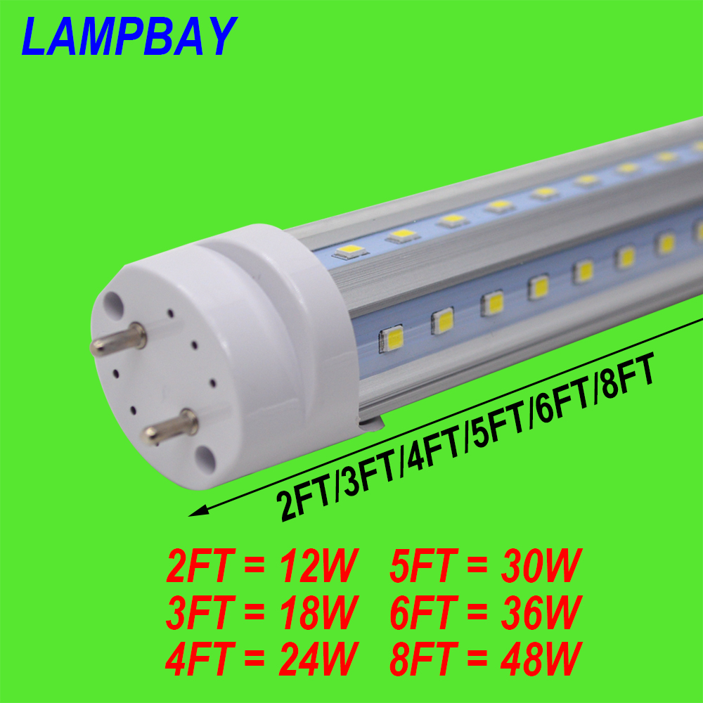 (30 Pack) Free Shipping LED Tube V shaped Bulb 270 angle T8 G13 two pins 2FT=12W 3FT=18W 4FT=24W 5FT=30W 6FT=36W 8FT=48W 85-277V 4 pack free shipping t5 integrated led tube 4ft 20w milky transparent cover surface mounted bulb comes with accessory 85 277v