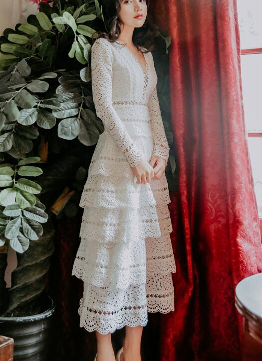 High Quality Best-selling Elegant Party Queen 2019 New Arrival V Collar Collect Waist Lace  Woman Long Dress White