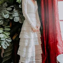 a7d552b32 عالية الجودة أفضل بيع أنيقة حزب الملكة 2019 جديد وصول V طوق جمع الخصر  الدانتيل امرأة فستان طويل الأبيض
