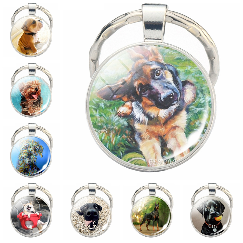 Lovely Dog Keychain Cute Dog Photo Glass Dome Pendant Silver Metal Keyring Dog Lovers Gifts Men Women Fashionable Jewelry Gifts