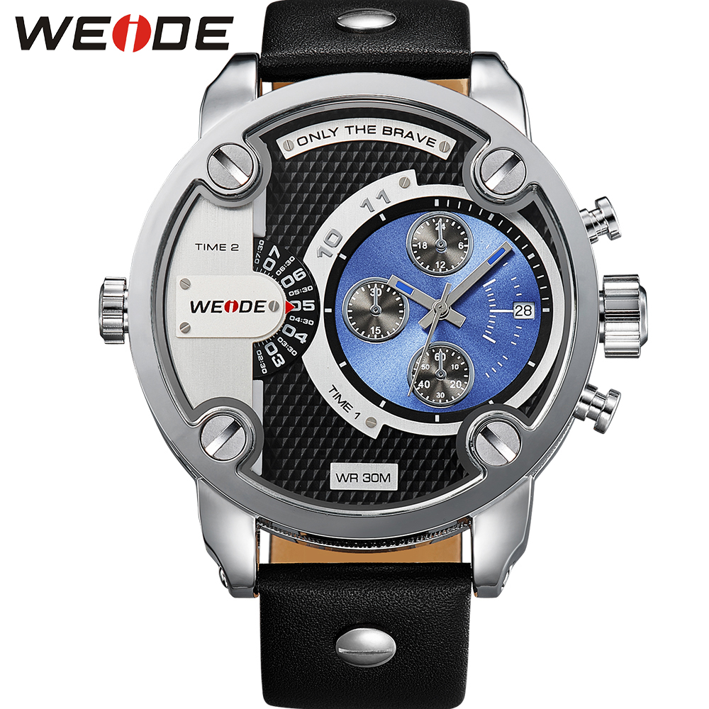 WEIDE Military Watches Men Sports Dual Time Display Calendar Auto Date Analog Leather Strap Buckle Quartz Watch 3ATM Oversize weide wh2309b military sports quartz watch double movts analog digital led dual time display alarm wristwatch for men
