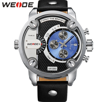 WEIDE Military Watches Men Sports Dual Time Display Calendar Auto Date Analog Leather Strap Buckle Quartz Watch 3ATM Oversize