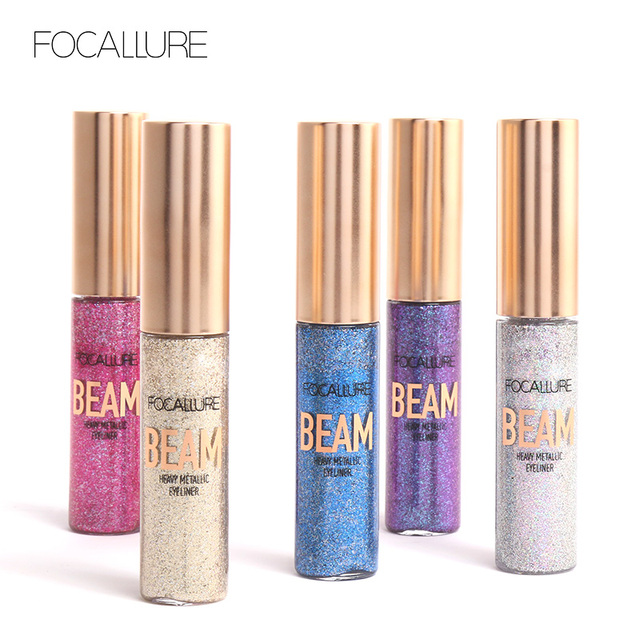 FOCALLURE 5 colors professional Eyeliner waterproof Glitter easy to wear eye liner colorful Quick dry liquid eyeliner 2