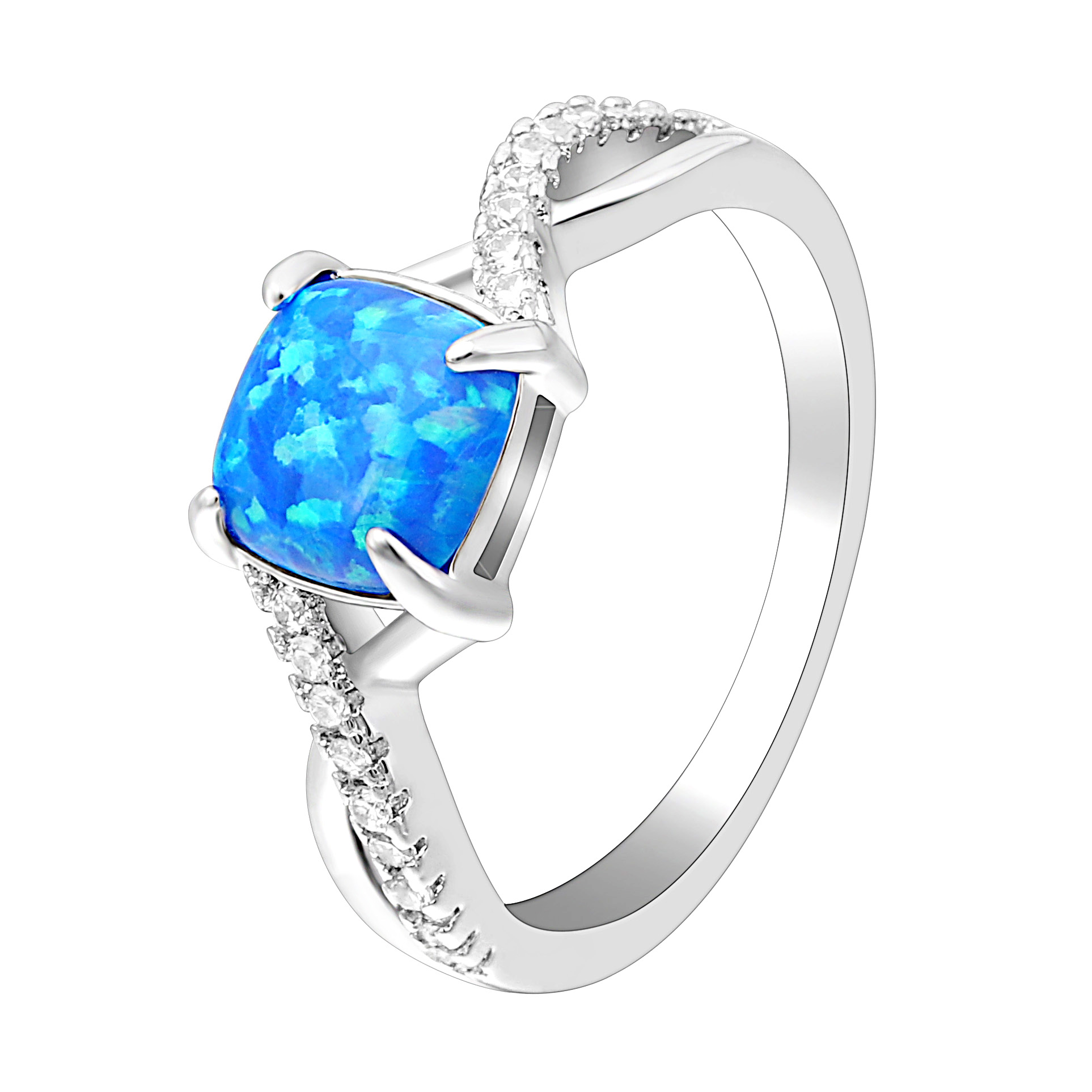 2018 Double Cross Finger Ring for Women Paved Blue Opals Luxury Zircon Ring Promise Engagement Rings Anniversary Birth Gift